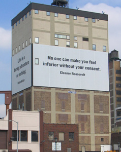 Billboard on side of building in NY